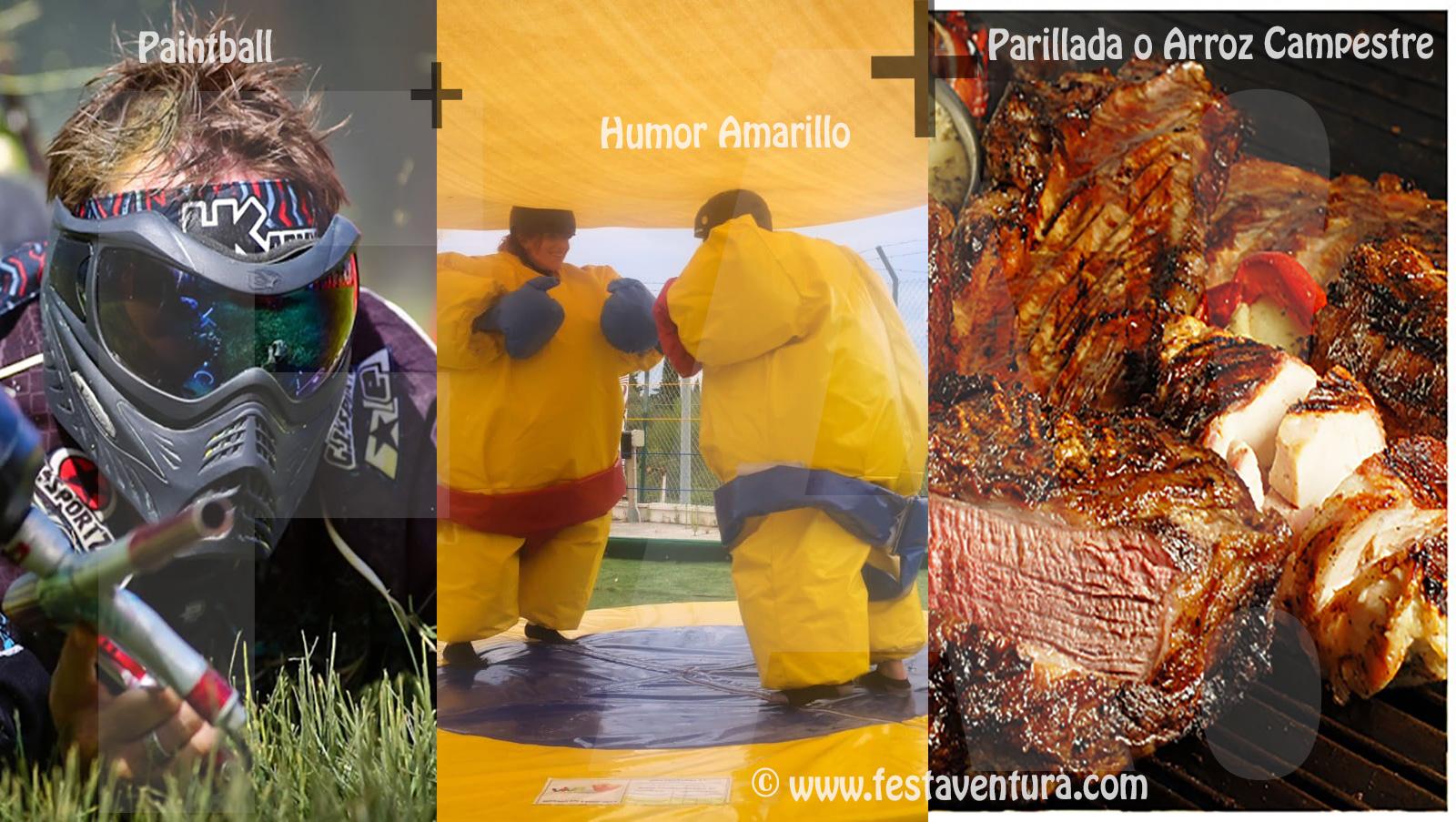 Humor Amarillo + Paintball + Parrillada con barra libre en Sitges